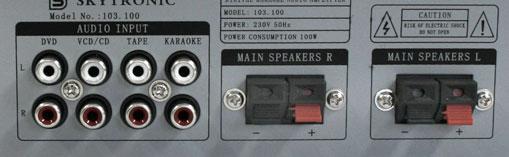 SKYTRONIC ST-2H Stereovahvistin 2x50W mikrofoni mikserillä vaikka kotikaraokeen, Monipuolinen 2x 50W stereovahvistin! 2kpl mikrofoniliitäntää (6.3mm plugi). Erilliset volume säädöt molemmille mikrofonikanaville. Kaiku. Audio inputit RCA liittimillä (esim. DVD, CD, Karaoke). Basso, diskantti ja balanssi säätimet etupaneelissa. Lähtöteho 2x50W. Mitat 95 x 250 x 240mm sekä paino 1.42kg.