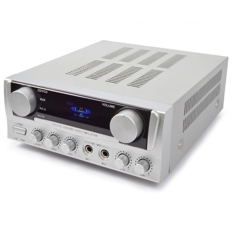 SKYTRONIC ST-1H Stereo vahvistin 2x 50W toimintonäytöllä, Monipuolinen 2x 50W stereovahvistin! Etupaneelin näytössä mm VU-mittari, äänilähteen info. 2 mikrofoniliitäntää (6.3mm plugi).Volume säätö mikrofonille. Kaiku. Audio inputit RCA liittimillä (esim. DVD, CD, MP3). Basso diskantti ja balanssi säätimet etupaneelissa.Lähtöteho 2x50W. Kaiuttimille ruuviliittimet. Mitat 285 x 220 x 95mm  sekä paino 2.8kg.