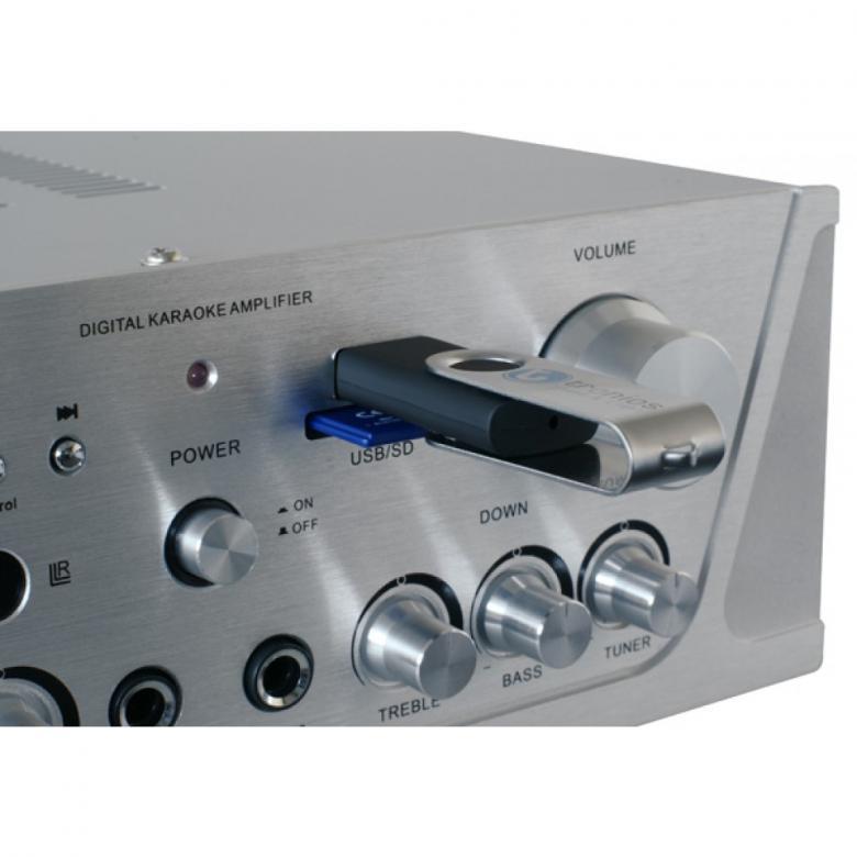 SKYTRONIC VV-1 Vahvistin alumiini USB & SD muistikorttipaikoilla, Monipuolinen 2x 50W stereovahvistin! Etupaneelissa USB portti sekä paikka SD kortille.2 mikrofoniliitäntää (6.3mm plugi).Erilliset volume säädöt molemmille mikrofonikanaville. Yksi audio ulostulo RCA liittimillä. Mukana kaukosäädin! Mitat 95 x 250 x 240mm.