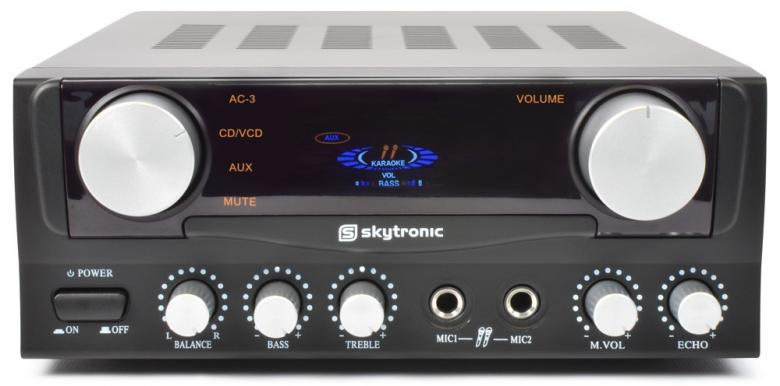SKYTRONIC ST-1B Koti hifi Vahvistin Karaoke toiminteella, Mikrofoni Sisäänmenot, Varustettu Toimintonäytöllä! 2 x 50W stereovahvistin, sopii karaokeen, laitteen takana kaksi steroliitäntää sisään (RCA) sekä yksi linjaliitäntä ulos (RCA), kaiuttimille ruuviliitännät, etupaneelissa liitännät kahdelle mikrofonille, sisäänrakennettu kaiku, iso VU-mittari! Mitat 260 x 220 x 95mm