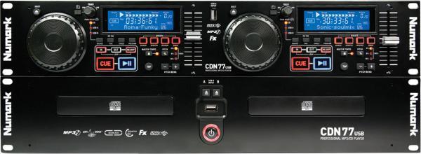 NUMARK CDN77 USB, 2-pesäinen CD/MP3 soitin CDN77USB on kahden CD-pesän soitin MP3-tuella. UsB-liitännän ansiosta voit laittaa koko digitaalisen musiikkikirjastosi USB-muistitikulle, tai kiintolevylle ja käyttää sitä keikalla. Laite on pakattu ammattitason ominaisuuksilla, kuten Master Tempo, Scratch, Pitch, ja saumaton looppaus. Reverse- ja Break-efektit täydentävät tämän huokeahintaisen soittimen erikoisominaisuuksia.
