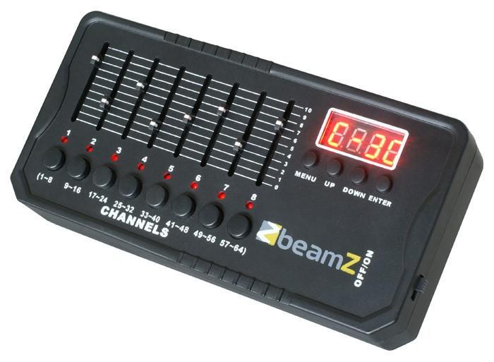 BEAMZ DMX512 Mini Valo Ohjain 9V akku mukana. Mini kontrolleri, laitteessa myös 9V sisäänrakennettu akku, sisältää muuntajan! Todella pienikokoinen DMX ohjain, jolla voita tallentaa jopa 30 sceneä eli ohjelman pätkää. Mitat 170x85x36mm paino 450gr. IP 20.