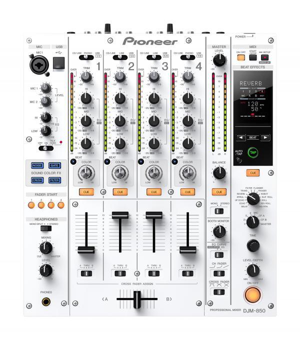 PIONEER DJM-850W DJ mikseri. Valkoinen DJM-850-mikserissä tulevaisuuden teknologia yhdistyy DJ-suosikkiominaisuuksiin. Liitä ja käytä esiasennettuna ja esimääritettynä. Mikserin studiotasoisia efektejä voi käyttää painikkeen painalluksella, ja se tarjoaa loputtomia luomismahdollisuuksia sekä ennen kokemattoman DJ-elämyksen.Beat-väriefekti on ensimmäinen laatuaan. Sidechain-efekti vie ohjauksen uudelle tasolle. Beat-efekti ikään kuin