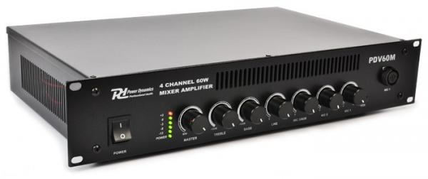 POWERDYNAMICS PDV60M 60W/100V 4-kanavainen mikserivahvistin, 4-channel mixer amplifier 60W/100V