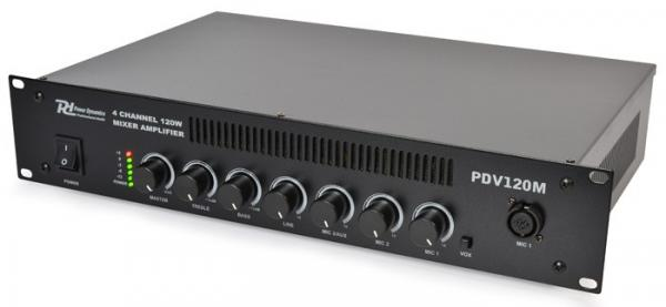 POWERDYNAMICS PDV120M 120W/100V 4-kanavainen mikserivahvistin, 4-channel mixer amplifier 120W/100V