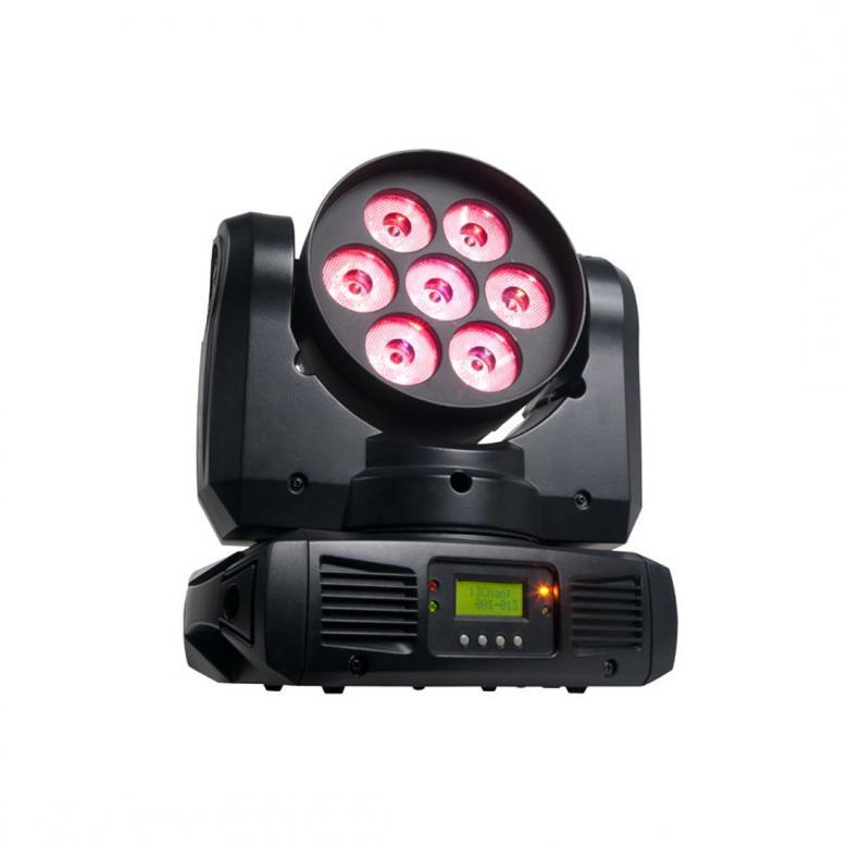ADJ Inno Color Beam Quad 7 moving head RGBW Todella jykevä ja laadukas moving head wash heitin. 70W LED tehoa RGBW eli saat tästä myös aidon valkoisen sävyn 7 x 10w efektivalo. Mitat: 260 X 168X 304mm sekä paino 6kg!