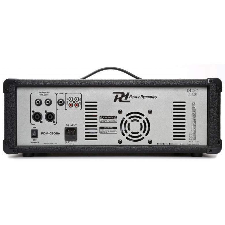 POWERDYNAMICS PDM-C808A Mikserivahvistin, 8-kanavainen, 2 x 200W, DSP kaiku ja echo! Sisäänrakennettu MP3-soitin!Laadukas 8 kanavainen Mikserivahvistin DSP efekteillä sekä sisäänrakennetulla MP3 soittimella! Sisäänmenot XLR sekä Plugi liittimillä. Basso sekä yläpään säädöt kanavakohtaisia, 5- kanavainen eq ulostulossa. Phantom 48V syöttö. Mitat 410 x 335 x 230mm sekä paino 6.2kg. Ulostulo äänelle NL2 neutrik tai 6,3mm jack.