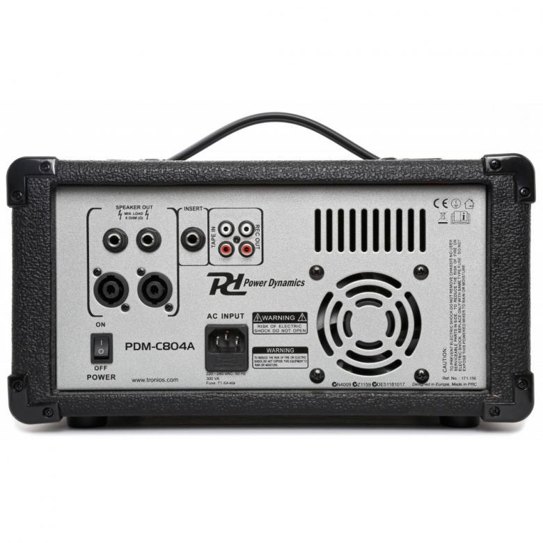 POWERDYNAMICS PDM-C804A Mikserivahvistin, 4-kanavainen, 2 x 200W, DSP kaiku ja echo! Sisäänrakennettu MP3-soitin! Laadukas 4 kanavainen Mikserivahvistin DSP efekteillä sekä sisäänrakennetulla MP3 soittimella! Sisäänmenot XLR sekä Plugi liittimillä. Basso sekä yläpään säädöt kanavakohtaisia, 5- kanavainen eq ulostulossa. AUX input mini 3.5 mm plugilla. Phantom 48V syöttö jne. Mitat 535 x 335 x 230mm sekä paino 8,5kg.