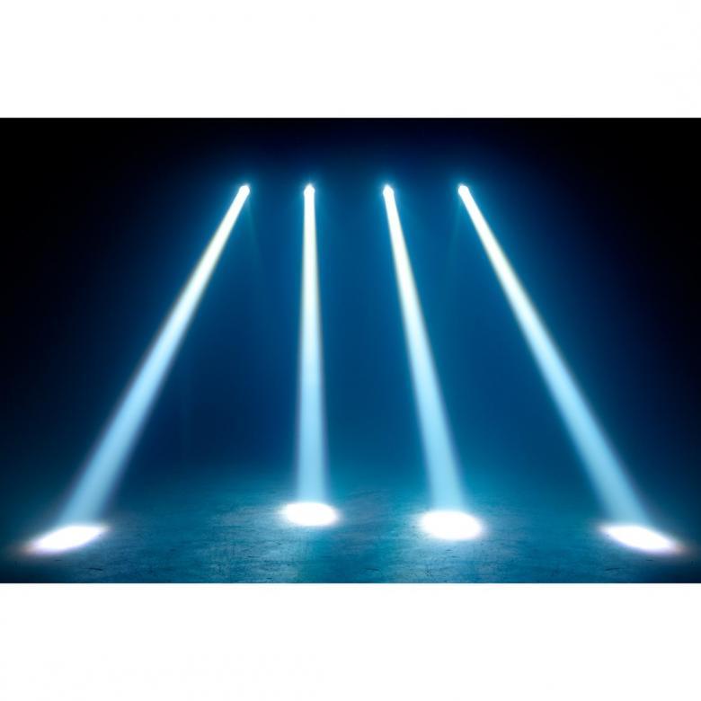 ADJ FX Beam LED pinspot ADJ:n FX Beam on pieni kapeakeilainen säde-efecti joka saa tehonsa 3W valkoisesta CREE LEDistä. Säde on kapea kolmen asteen avauskulmalla ja kun lamppuja käytetään useita luovat ne puhdasta valaisun hurmaa. FX Beam on täydellinen peilipalloille, juhlapöydille, kaupoille tai messuesittelijöille, kelle vaan joka tarvitsee pienen ja kirkkaan valon. Voidaan käyttää myös bileiden erikoisefektinä. 3 Asteen säteen avautumiskulma, Ketjutettavissa: Virta IEC-liittimien kautta (MAX 126 laitetta), Mitat (PxLxK): 119 x 119 x 148mm, Paino: 0.6 kg