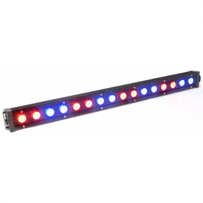 BEAMZ LCB-48IP ulkokäyttöön IP65 LED-palkki 16x3W Tri DMX 30°, 3-28 kanavaisessa DMX LED-palkissa on 16 värillistä LEDiä (Tri Color) ja se on suunniteltu moniin käyttötarkoituksiin. Tässä laitteessa on mahdollisuus staattisiin väreihin, stroboon, himmentimeen ja värien sekoitukseen. Mitat 993 x 112 x 89mm sekä paino 5.3kg.