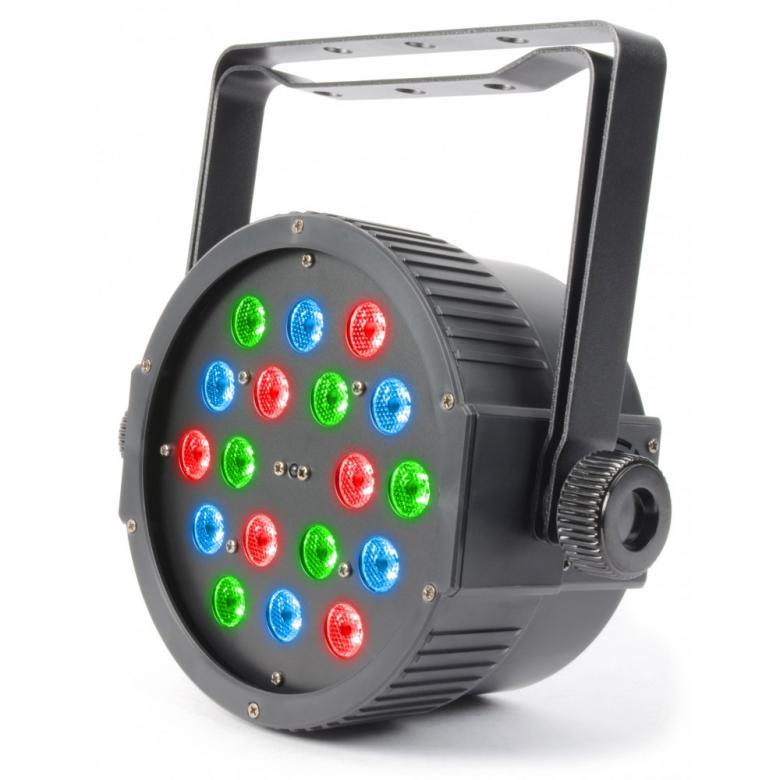POISTO BEAMZ Poisto LED FLAT-PAR RGB Spotti 18x 1W LED Tässä FLAT-PAR mallisessa valonheittimessä on 18 kpl kirkasta LEDiä kompaktissa kuoressa joka mahtuu lähes mihin tahansa. Laite tarjoaa runsaan valikoiman staattisia värejä sekä värisekoituksia. Laitteessa sisäänrakennettuna automaattisia sekä ääniaktivoitavia ohjelmia, strobo, sähköinen himmennys ja vaihteleva nopeus-pulssi efekti käyttöön kiireessä. Voit myös luoda oman lookkisi käyttämällä 7-kanavaista DMX-moodia. Mahdollisuus ketjuttaa useita laitteita. IR-kauko-ohjaus. Aukeamiskulma n.15 astetta.