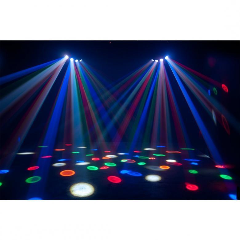 ADJ ADJ Monster Quad valoefekti RGBWA DMX. Neljä linssiä ja 25x1W RGBWA lediä (5x punainen, 5x vihreä, 5x sininen, 5x valkoinen sekä 5x amber) luovat upean moonflower efektin. Erittäin laajalla 93 asteen keilalla ja useilla eri automaattiohjelmilla luot upeita valoefektejä niin kotiin kuin clubeihin. Laitetta voit ohjata äänellä, automaatti-ohjelmilla tai DMX:llä. Voidaan ohjata UC IR ohjaimella. Mitat 460 x 285 x 167mm sekä paino 3,4kg.