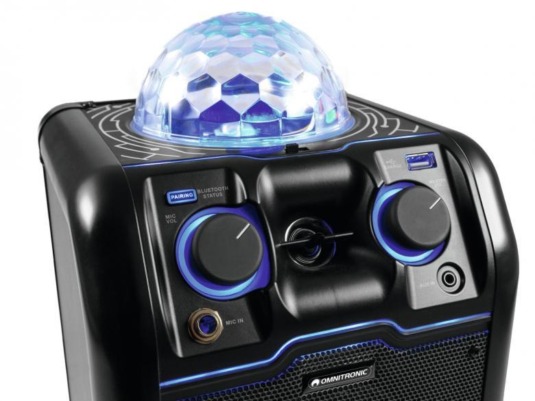 OMNITRONIC BeatRevel S Siirrettävä bilekaiutin 50W Bluetooth BT discovaloilla. Lataava USB-tikun paikka, soitto myös SD-kortilta. Bluetooth vastaanotto musiikille. Sisääntulot: Jack 6.3mm & AUX 3.5mm