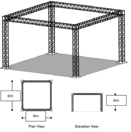 SHOW WORLD VUOKRAUS 4-point trussi kehikko 4m x 4m x4m