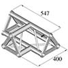 TRISYSTEM 3-tie T-pala PAT-36 horizontal. 3-way T-