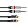Plugi-RCA-adapterikaapeli 1,5m, 2 x Jack Plug 6,3m