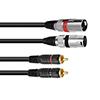 XLR-RCA-adapterikaapeli 5m, 2 x XLR-uros - 2 x RCA