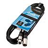 ACCU-CABLE DMX-kaapeli 5m XLR-uros-XLR-naaras 110 Ohmin impedanssilla. Aito Accu-Cable AC-DMX3/5 kestää käytössä. Laadukkaat liittimet, nippusidetarranauha kätevään pa
